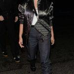 Lottie Moss in a Black Bomber Jacket
