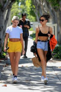 Madison Beer in a Blue Daisy Duke Shorts