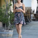 Olivia Culpo in a Floral Print Skirt