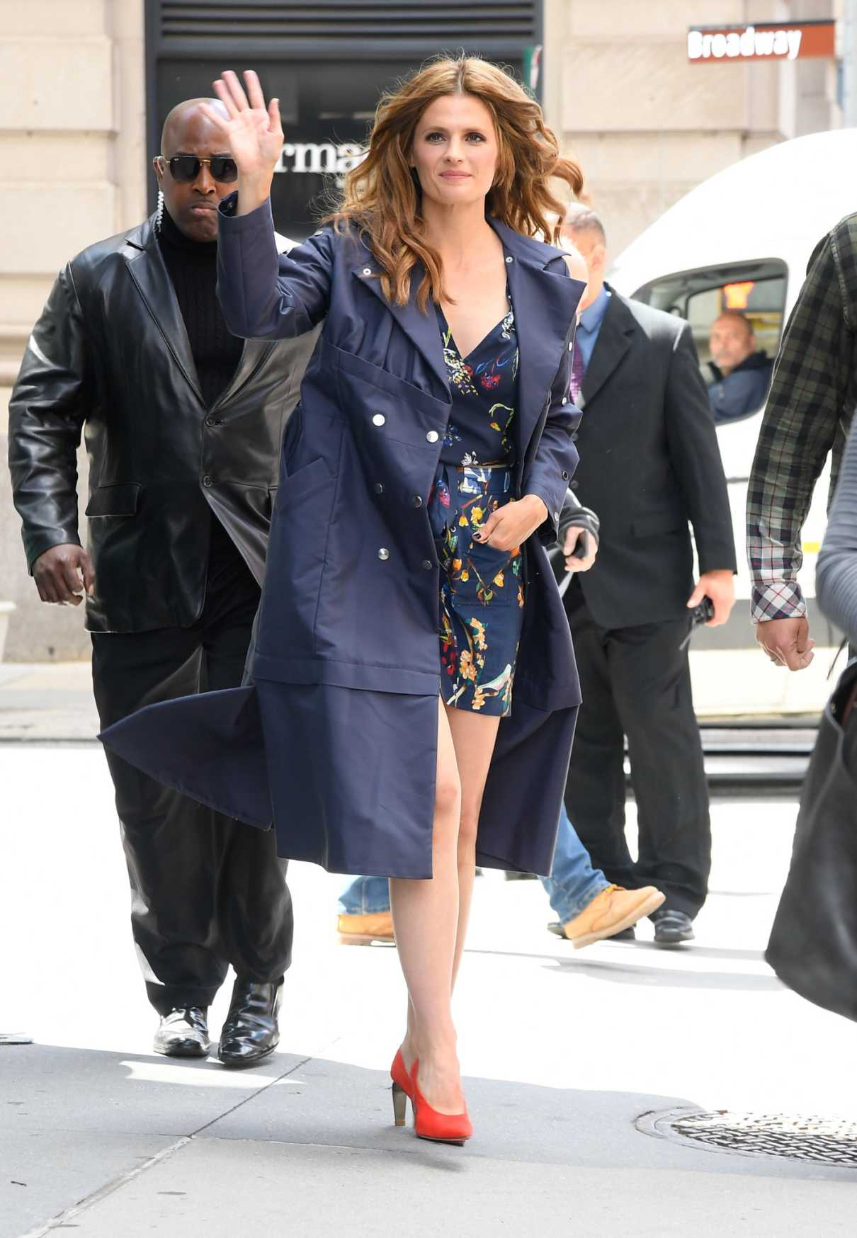 Stana Katic in a Blue Trench Coat