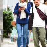 Alessandra Ambrosio in a Blue Sweater