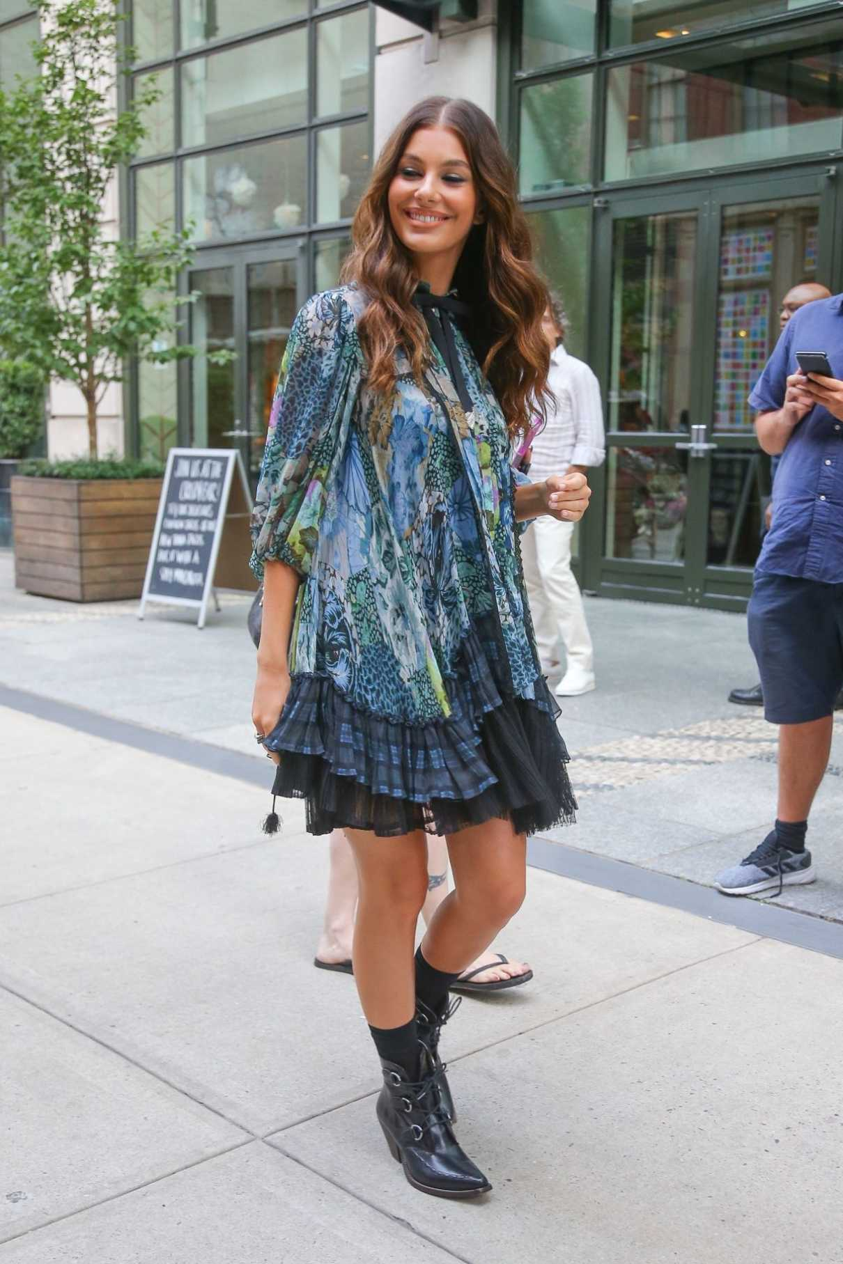 Camila Morrone in a Short Floral Dress