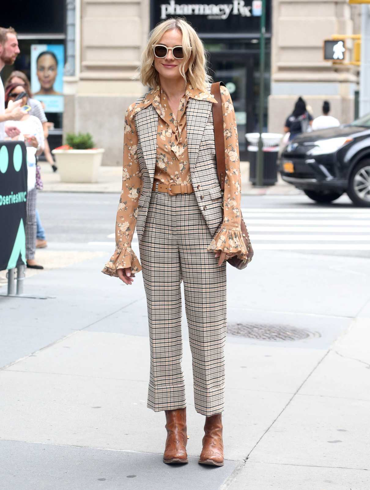 Diane Kruger in a Plaid Suit