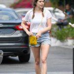 Elizabeth Olsen in a Blue Daisy Duke Shorts