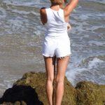 Hailey Baldwin in a White Daisy Duke Shorts