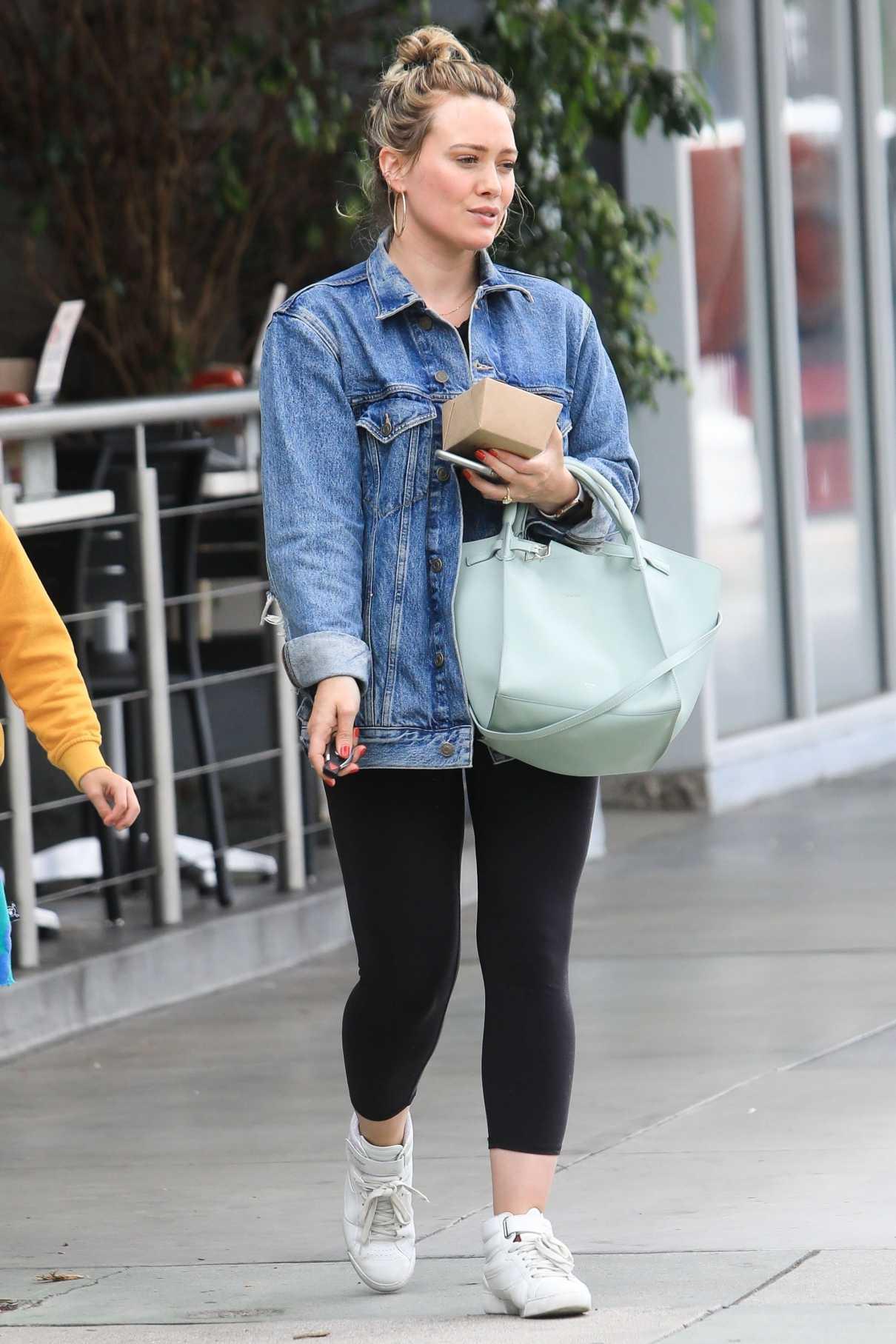 Hilary Duff in a Blue Denim Jacket