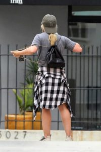 Hilary Duff in a Gray Tee