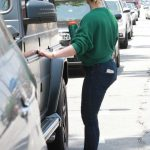 Hilary Duff in a Green Sweatshirt