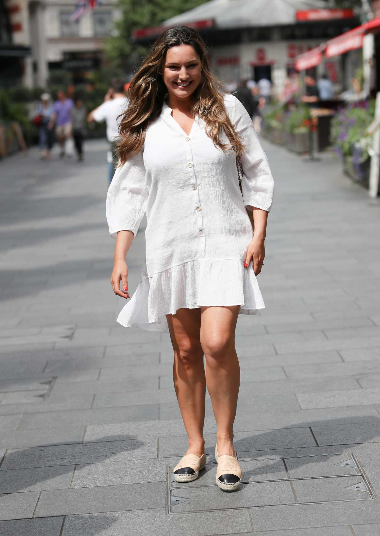 Kelly Brook in a Short White Dress
