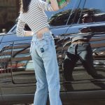 Kendall Jenner in a Striped Long Sleeves T-Shirt