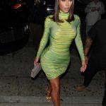 Kim Kardashian in a Neon Green Dress