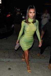kim kardashian in a neon green dress arrives at craig's