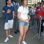 Lana Del Rey in a White Tee Arrives at BBC Radio One Studios in London 07/23/2019