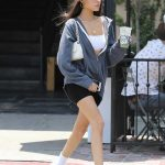 Madison Beer in a Gray Hoody