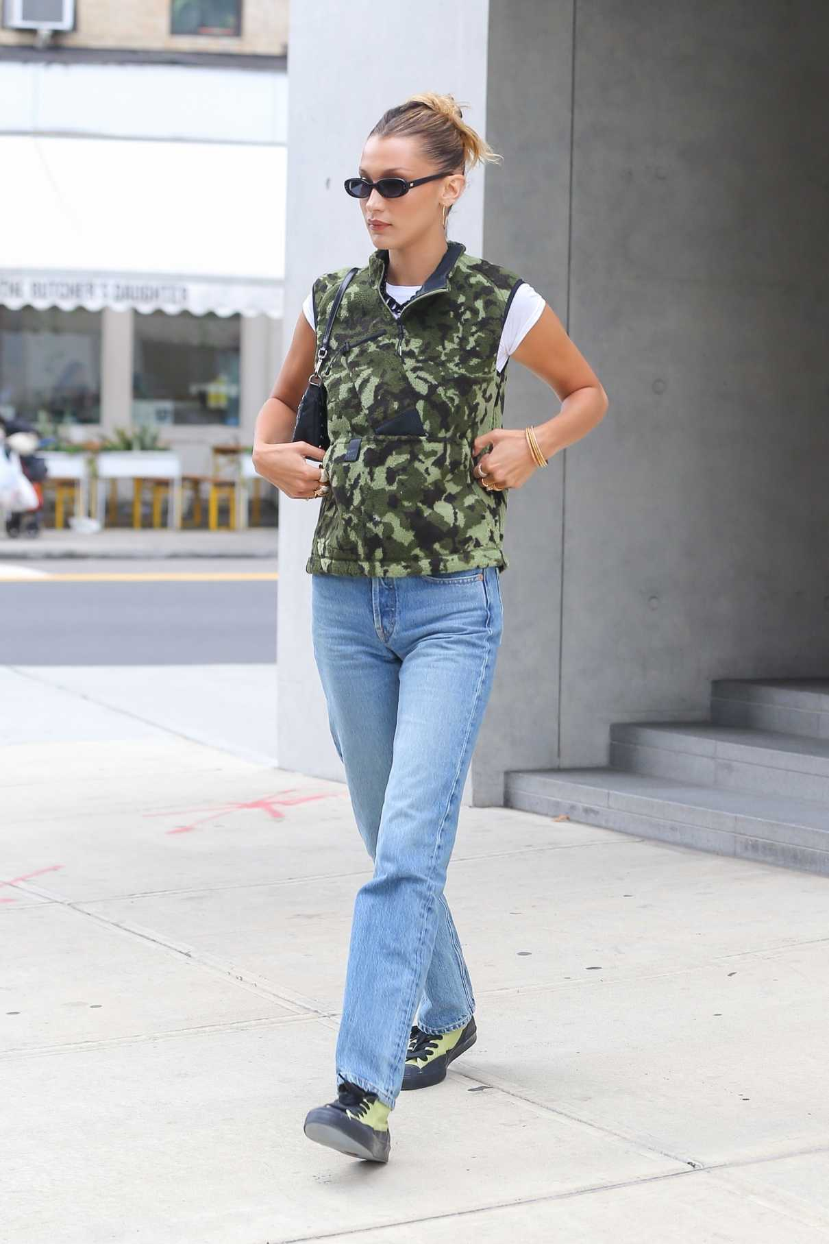 Bella Hadid in a Camo Vest