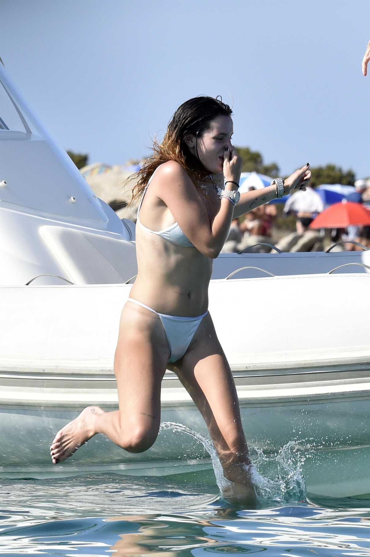 Bella Thorne in a Silver Bikini