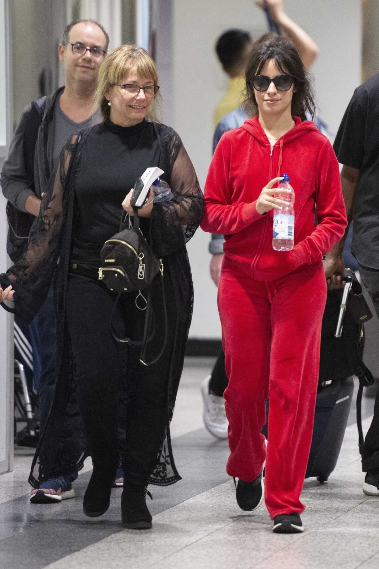 Camila Cabello in a Red Jogging Suit