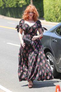 Christina Hendricks in a Black Floral Dress
