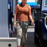 Christina Milian in a Plaid Blouse