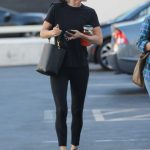 Courteney Cox in a Black Tee Leaves a Spa in Beverly Hills 08/20/2019