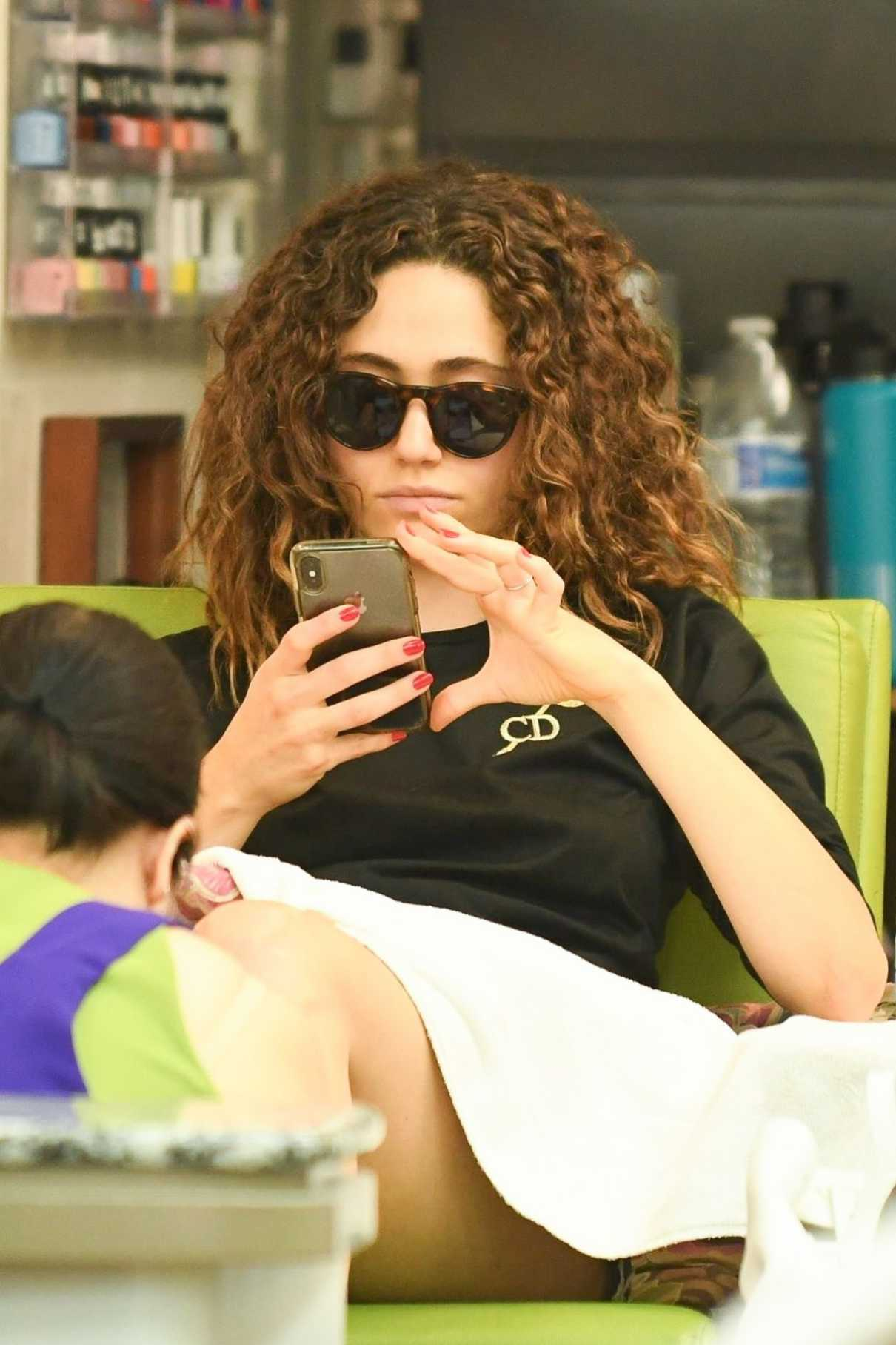 Emmy Rossum in a Black Long Sleeves T-Shirt
