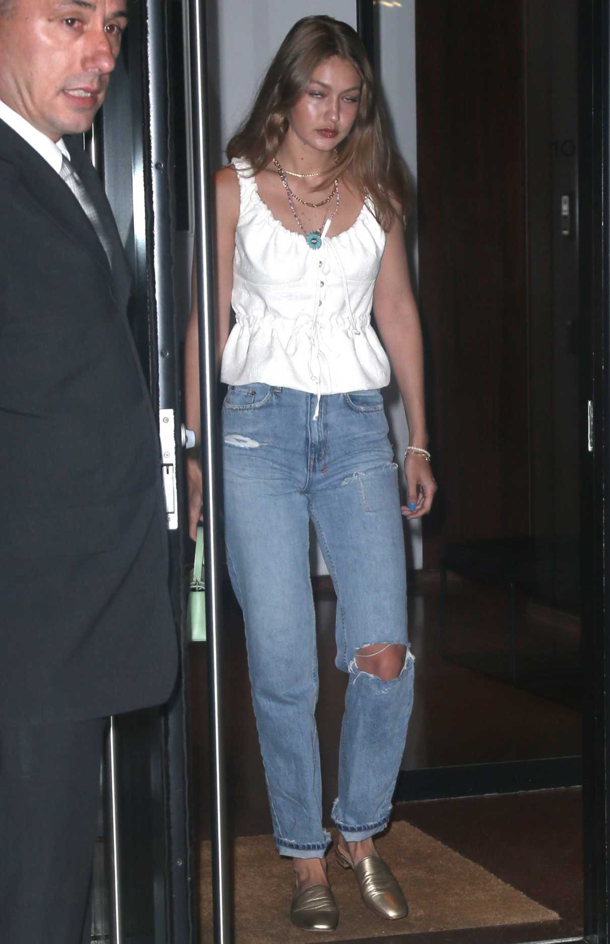 Gigi Hadid in a White Blouse
