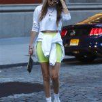 Gigi Hadid in a Yellow Spandex Shorts
