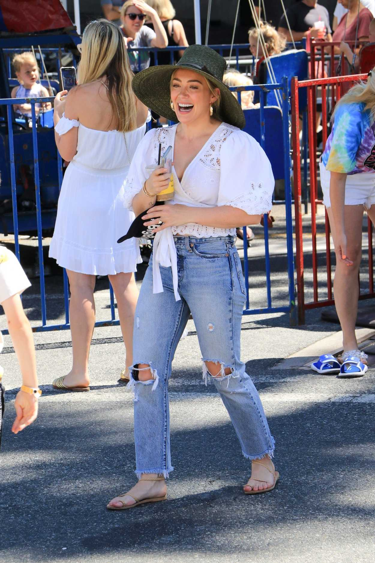 Hilary Duff in a White Blouse