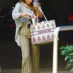Jessica Alba in a Striped Suit