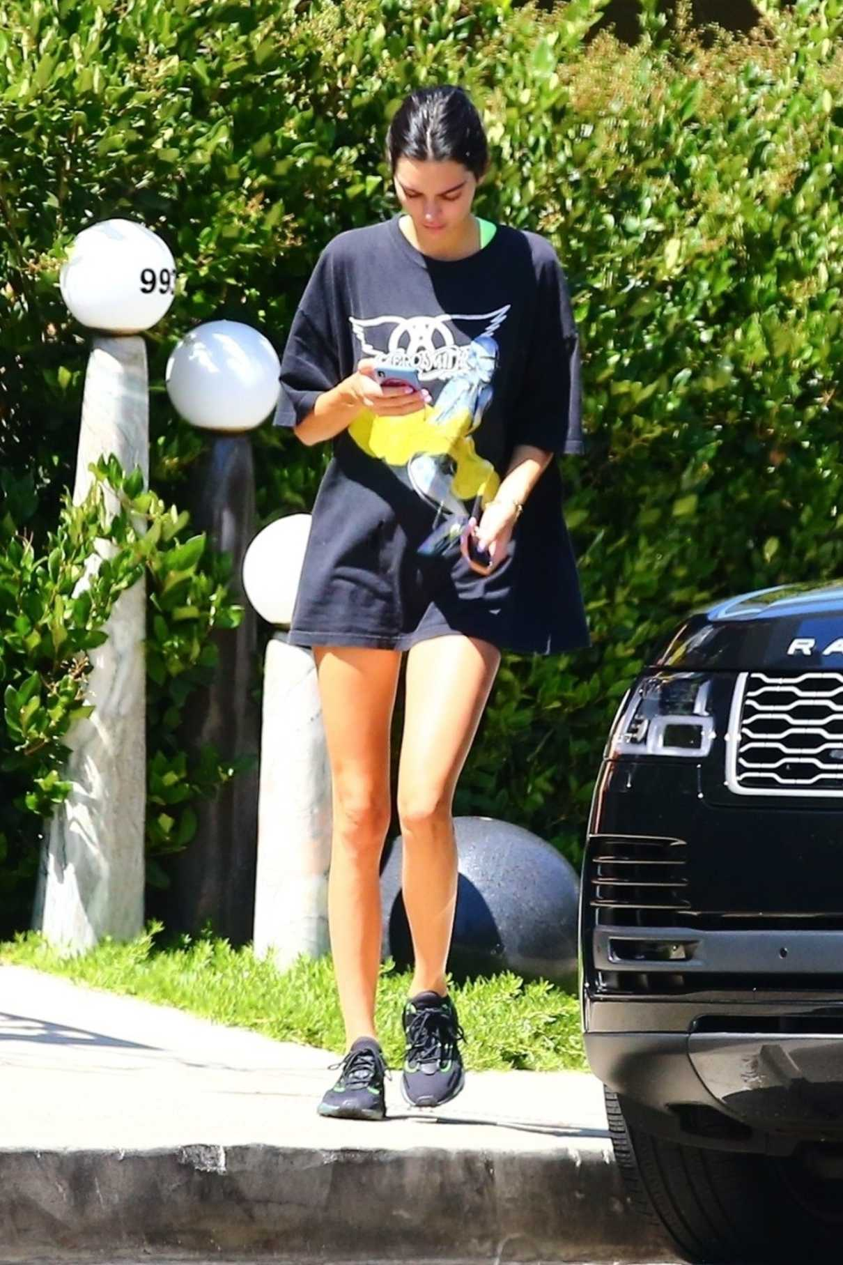 Kendall Jenner in a Black Tee