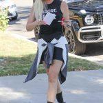 Khloe Kardashian in a Black Spandex Shorts