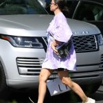 Kim Kardashian in a Purple Oversized Tee