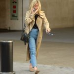 Mollie King in a Beige Trench Coat
