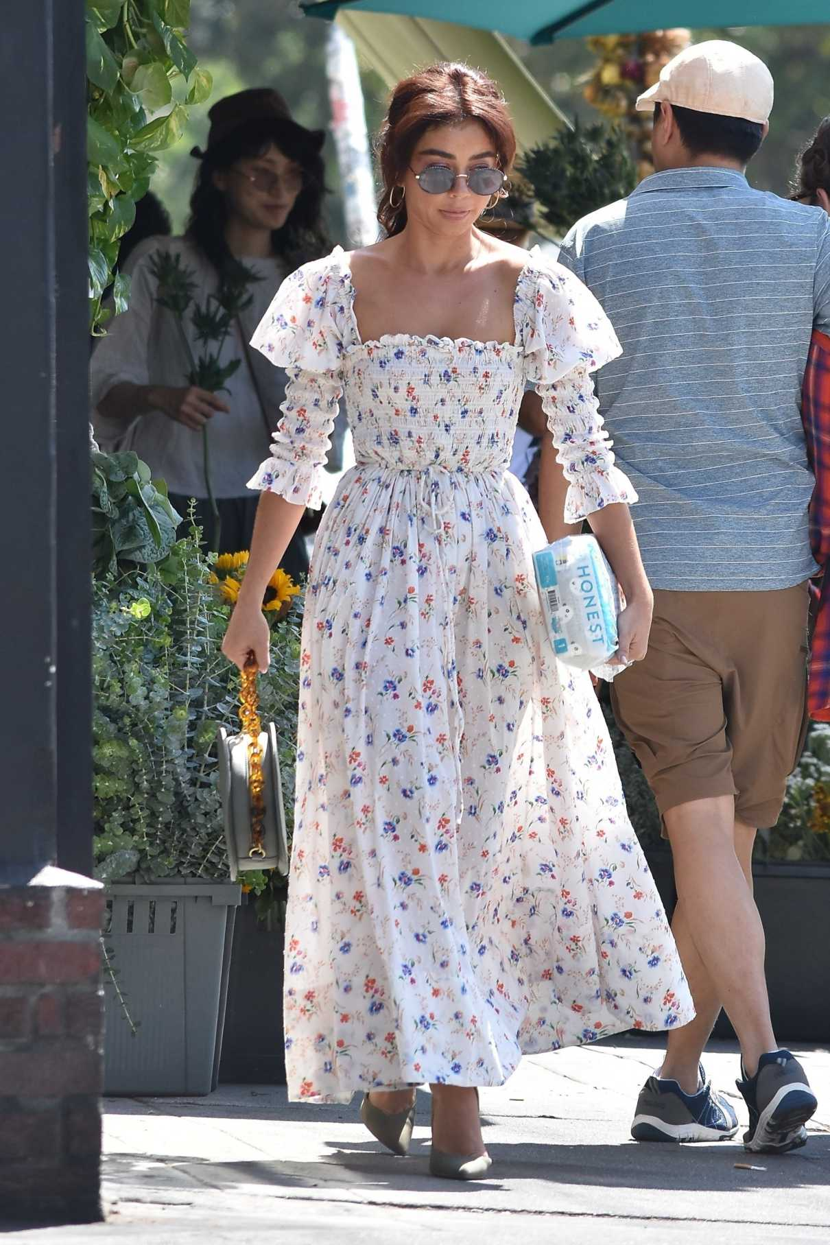 Sarah Hyland in a White Floral Dress