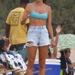 Alessandra Ambrosio in a Blue Bra