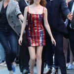 Anna Kendrick in a Short Red Dress Leaves AOL Build Series in New York 09/25/2019