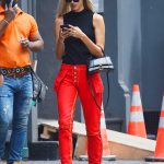 Devon Windsor in a Red Pants Was Seen Out in NY 09/03/2019