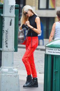 Devon Windsor in a Red Pants