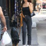 Emily Ratajkowski in a Black Striped Pants