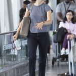Emmy Rossum in a Gray Tee