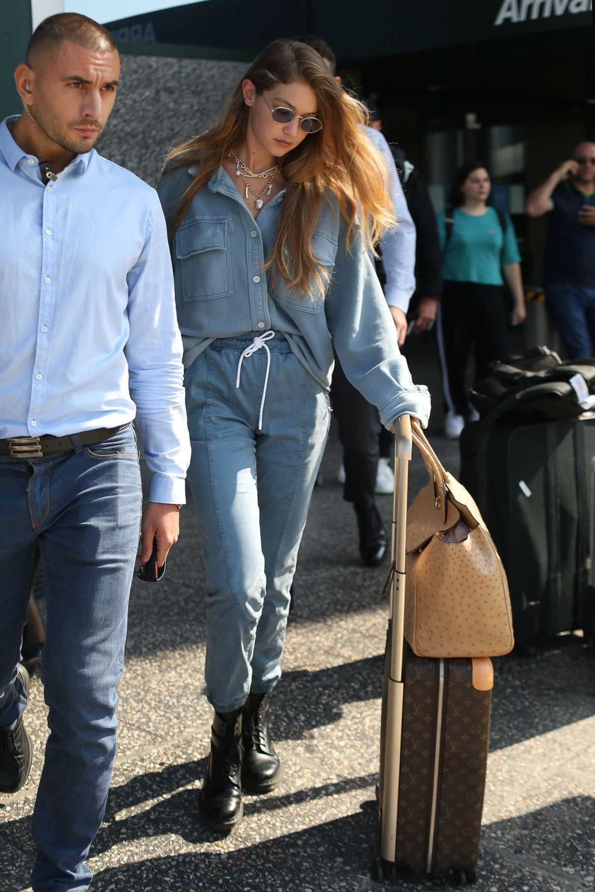 Gigi Hadid in a Blue Pants