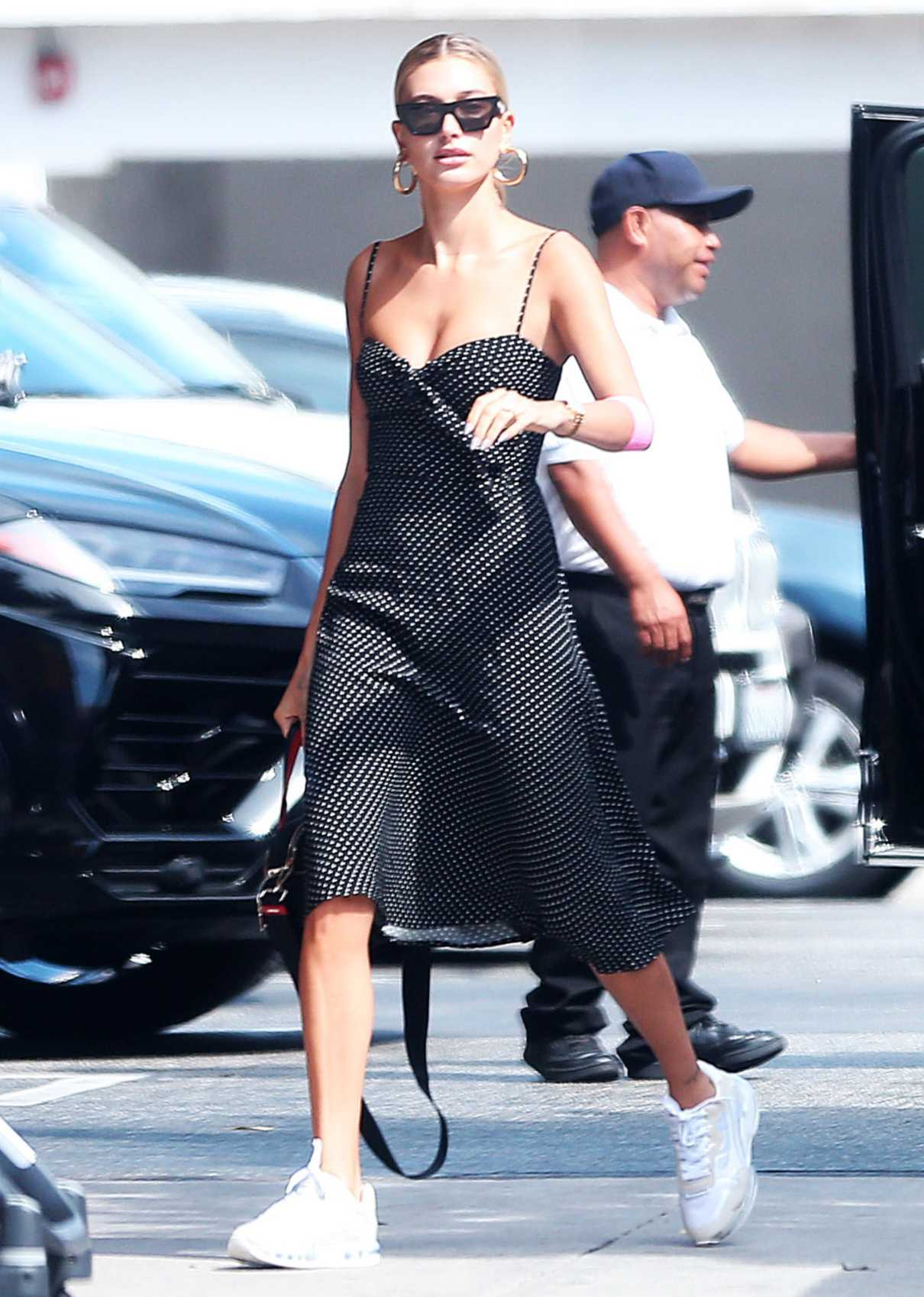 Hailey Baldwin in a Black Polka Dot Dress