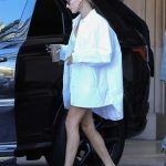 Hailey Baldwin in a White Oversized Shirt