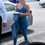 Jennifer Lopez in a Blue Sports Bra
