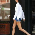 Kendall Jenner in a Blue Denim Shorts