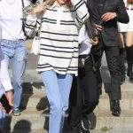 Kendall Jenner in a Striped Long Sleeves Polo