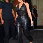 Kim Kardashian in a Black Leather Pants