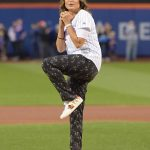 Mariska Hargitay Throws Out the First Pitch of the LA Dodgers vs NY Mets Game in New York 09/13/2019
