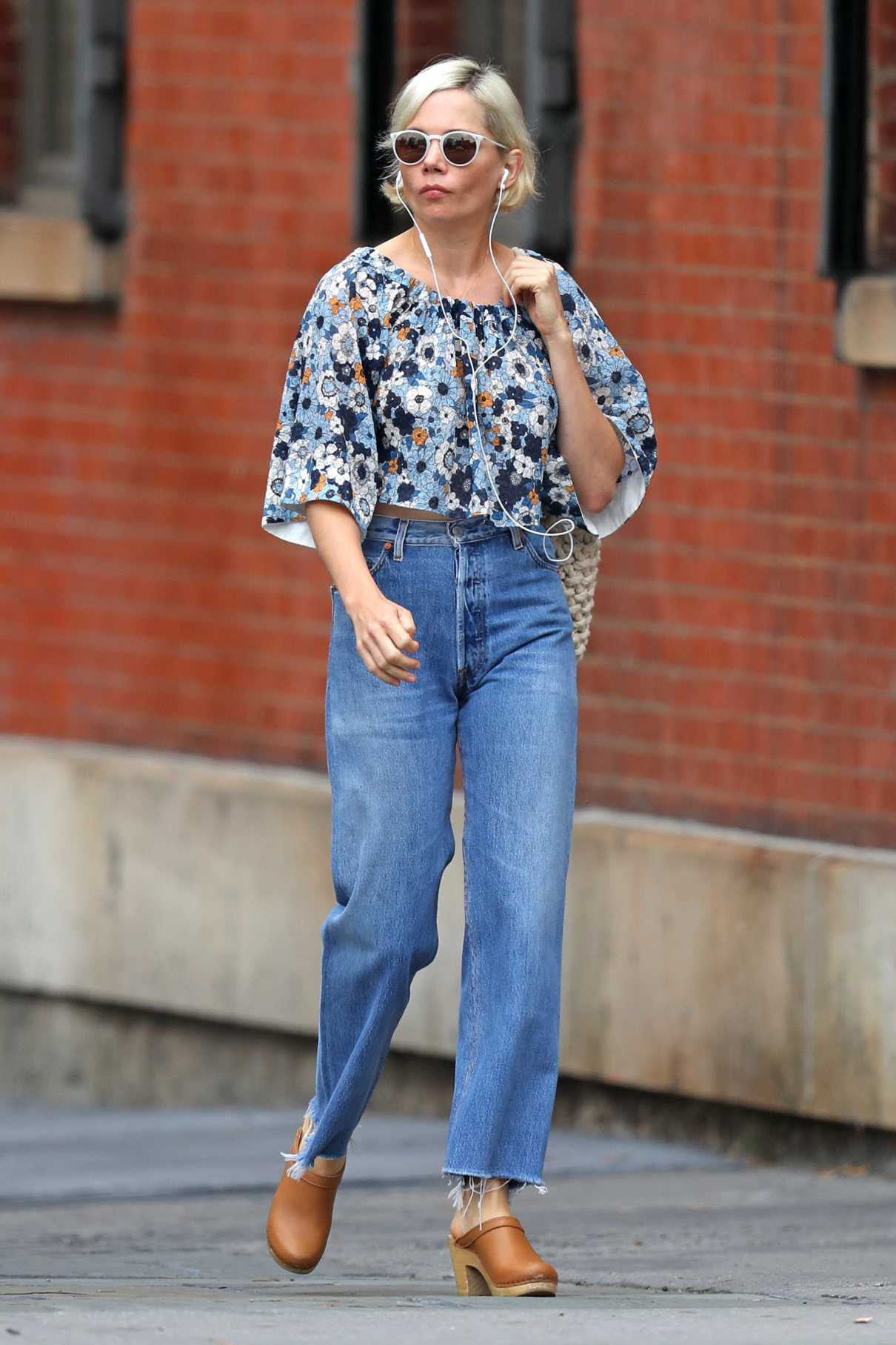 Michelle Williams in a Floral Blouse
