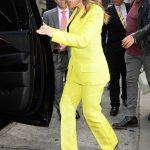 Alyssa Milano in a Yellow Suit